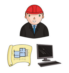 Architecture and construction cartoon icons in set vector