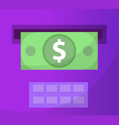 Atm gives out money icon flat design vector