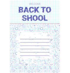 Back to school doodle label hand drawn on white vector