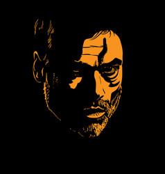 bearded man portrait silhouette in contrast vector image