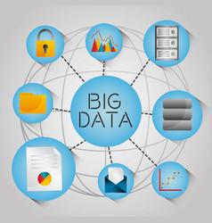 big data globe analytic technology network icons vector image