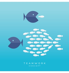Big Fish Small Fish Teamwork Concept vector image
