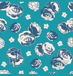 Blue rose garden ditsy floral seamless vector