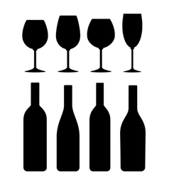bottle and glass icon set vector image