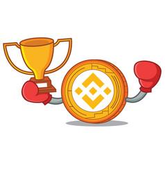 Boxing winner binance coin mascot catoon vector