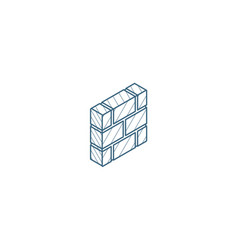 brick wall isometric icon 3d line art technical vector image