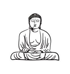 Buddha statue hand drawn icon vector
