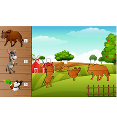 Cartoon farm animals collection set find the corr vector