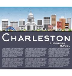 Charleston Skyline with Gray Buildings Blue Sky vector