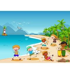 Children and beach vector