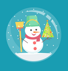 christmas glass ball with a snowman inside vector image