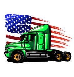 classic american truck with vector image