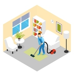 Cleaning Service Isometric Scene vector
