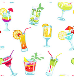 cocktails bar alcohol drinks seamless patter nice vector image