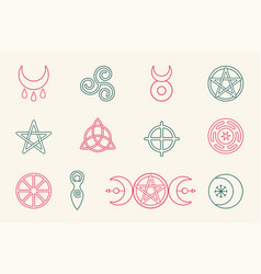 collection magical wiccan and pagan symbols vector image