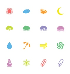 Colorful simple flat weather icon set vector