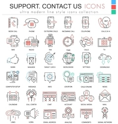 Contact us support modern color flat line vector