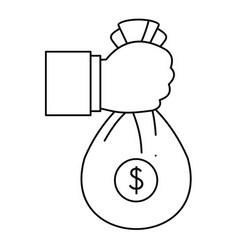 corruption money bag icon outline style vector image