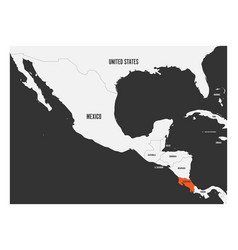 costa rica orange marked in political map of vector image