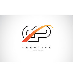 cp c p swoosh letter logo design with modern vector image