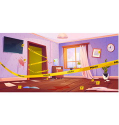 Crime scene murder place with yellow police tape vector