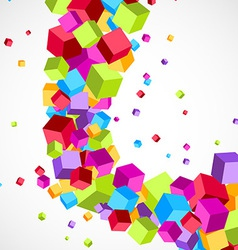 Cubes fly colorful swoosh wave background vector image