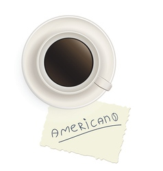 Cup black coffee with a note vector