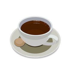 Cup of coffee on plate with a cookie on a white vector