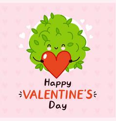 cute funny marijuana weed bud present heart happy vector image