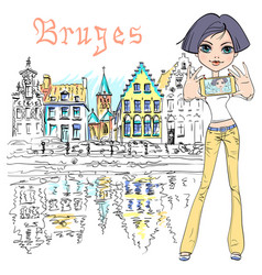 Cute hipster girl makes selfie in bruges belgium vector