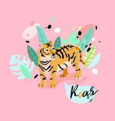 cute striped tiger in jungle vector image