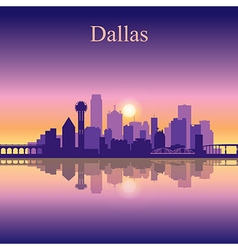 Dallas city skyline silhouette background vector image