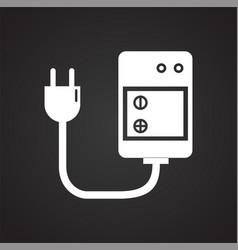Digital camera battery charging icon on black vector