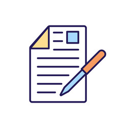 Document signing rgb color icon vector