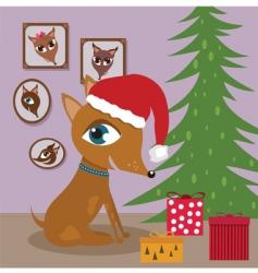Dog with Christmas presents vector