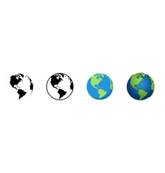 earth globe in different designs world map in vector image
