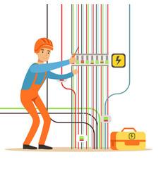electrician engineer in uniform repairing vector image