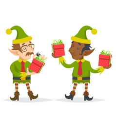 elfs gift box christmas character quality check vector image