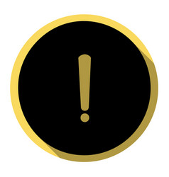 exclamation mark sign flat black icon vector image