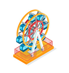 Ferris wheel attraction for people during holidays vector