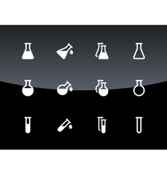 Flask and test tube icons on black background vector image