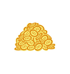Flat bitcoin golden coins pile heap vector