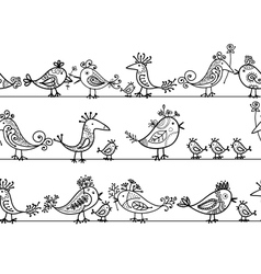 Funny birds seamless pattern for your design vector