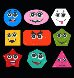geometric figures with face emotion cute funny vector image
