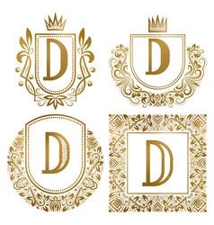 Golden vintage monograms set heraldic logos d vector