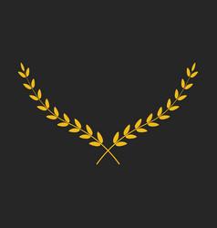 golden wide laurel wreath placed on black vector image