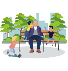 grandfather playing with grandchildren in park vector image