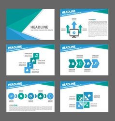 Green blue presentation templates Infographic set vector image