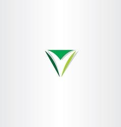 green letter v logo triangle sign vector image