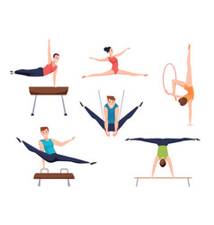 gymnasts athletes characters acrobatic moves vector image